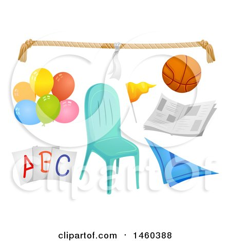 Clipart of Different Elements for Kiddie Party Games like Rope, Ball, Newspaper, Balloons, Cards, Scarf and Chair - Royalty Free Vector Illustration by BNP Design Studio