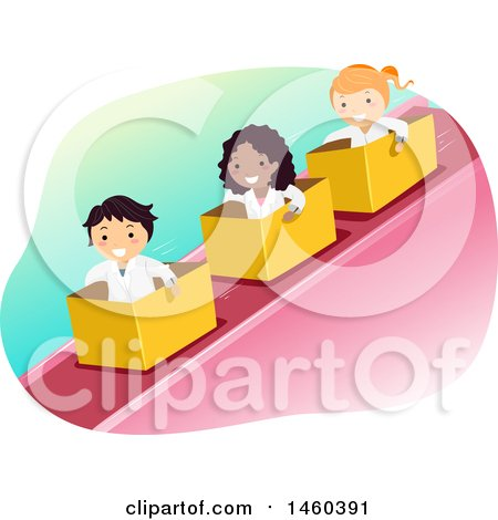 Clipart of a Group of Children Riding down an Incline in Boxes - Royalty Free Vector Illustration by BNP Design Studio