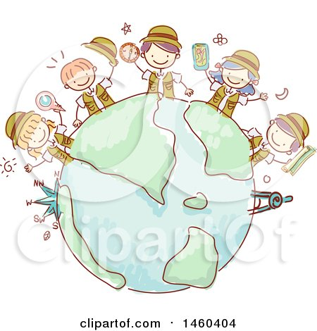 Clipart of a Sketched Group of Explorer Children Around a Globe - Royalty Free Vector Illustration by BNP Design Studio
