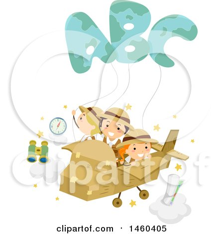 Clipart of a Group of Explorer Children Flying in a Cardboard Plane with Abc Balloons - Royalty Free Vector Illustration by BNP Design Studio
