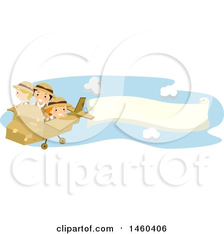 Clipart of a Group of Children Flying a Cardboard Plane with a Banner - Royalty Free Vector Illustration by BNP Design Studio