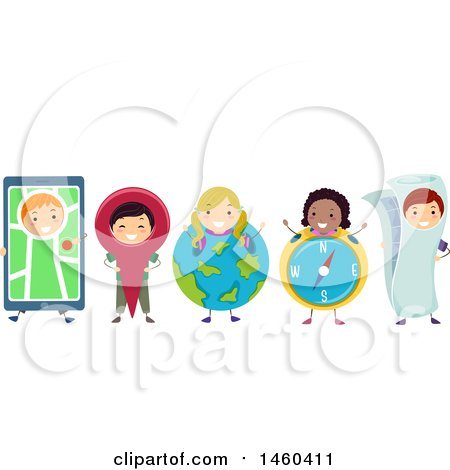 Clipart of a Group of Children with Navigation Items - Royalty Free Vector Illustration by BNP Design Studio