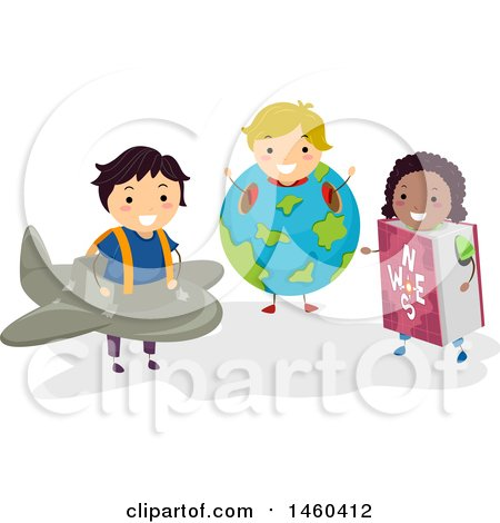 Clipart of a Group of Children in Plane, Earth and Book Costumes - Royalty Free Vector Illustration by BNP Design Studio