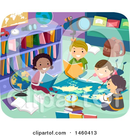Clipart of a Group of Children Reading Around a Map in a Library - Royalty Free Vector Illustration by BNP Design Studio