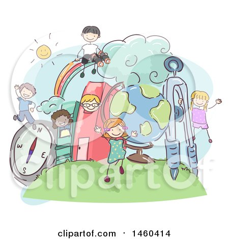 Clipart of a Sketched Group of Children Playing in a Book City - Royalty Free Vector Illustration by BNP Design Studio