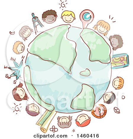 Clipart of a Sketched Group of Children Around Earth - Royalty Free Vector Illustration by BNP Design Studio
