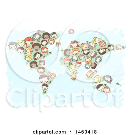 Clipart of a Sketched Group of Children Forming a Map - Royalty Free Vector Illustration by BNP Design Studio