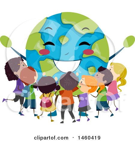 Clipart of a Group of Children Around a Happy Earth - Royalty Free Vector Illustration by BNP Design Studio