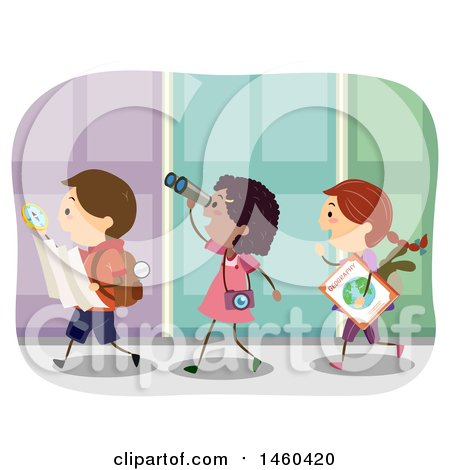 Clipart of a Group of Children Walking with a Map and Compass - Royalty Free Vector Illustration by BNP Design Studio