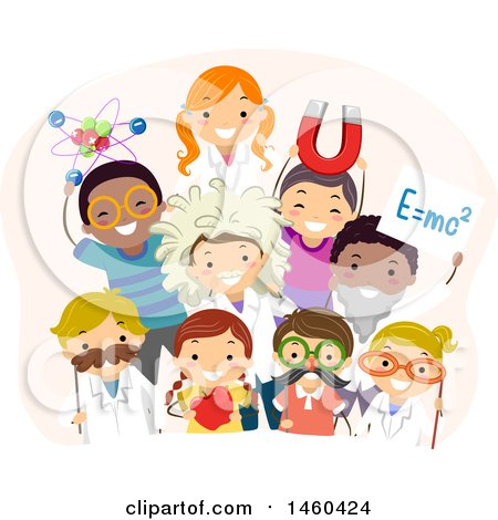 Clipart of a Group of Children in Physics Costumes - Royalty Free Vector Illustration by BNP Design Studio