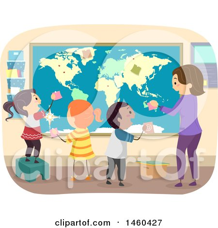 Clipart of a Group of Children and Teacher Adding Notes to a Map - Royalty Free Vector Illustration by BNP Design Studio