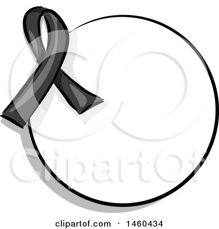 Clipart of a Blank Round Label with a Black Awareness Ribbon - Royalty Free Vector Illustration by BNP Design Studio