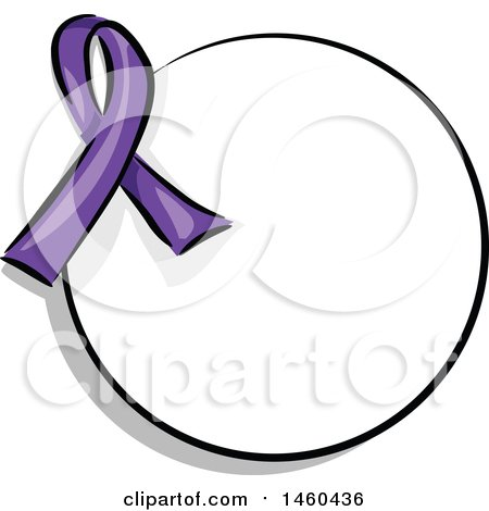 Clipart of a Blank Round Label with a Purple Awareness Ribbon - Royalty Free Vector Illustration by BNP Design Studio