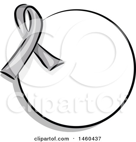 Clipart of a Blank Round Label with a Gray Awareness Ribbon - Royalty Free Vector Illustration by BNP Design Studio