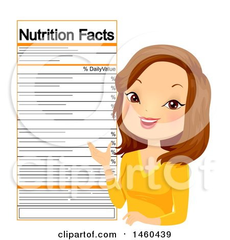 Clipart of a Caucasian Female Nutritionist with a Label - Royalty Free Vector Illustration by BNP Design Studio