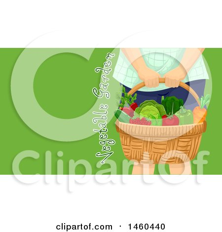 Clipart of a Cropped View of a Girl Holding a Harvest Produce Basket with Text on Green - Royalty Free Vector Illustration by BNP Design Studio