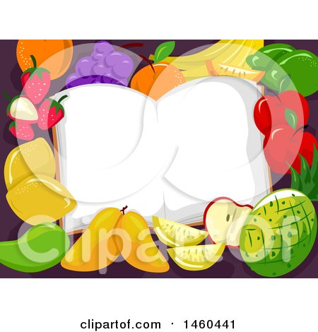 Clipart of a Border of Fruit Around an Open Book - Royalty Free Vector Illustration by BNP Design Studio