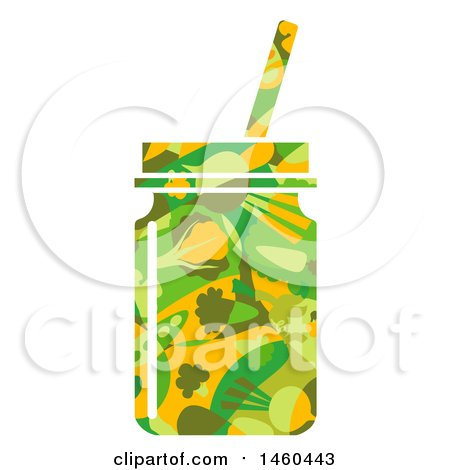 Clipart of a Vegetable Patterned Smoothie in a Mason Jar - Royalty Free Vector Illustration by BNP Design Studio