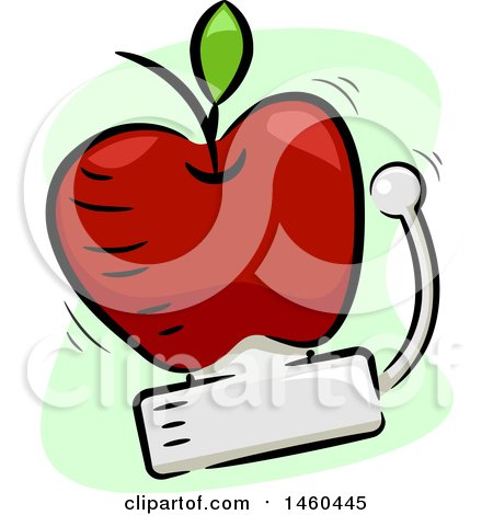 Clipart of a Ringing School Bell in the Shape of an Apple - Royalty Free Vector Illustration by BNP Design Studio