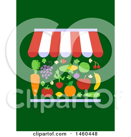 Clipart of a Market Stall with Different Fruits and Vegetables for Sale on Green - Royalty Free Vector Illustration by BNP Design Studio