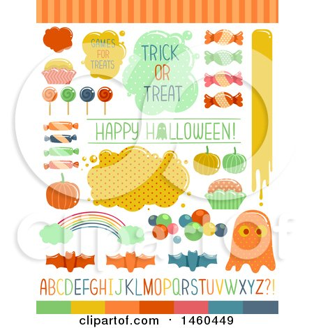 Clipart of Candies and Sweet Elements for Halloween Trick or Treat - Royalty Free Vector Illustration by BNP Design Studio