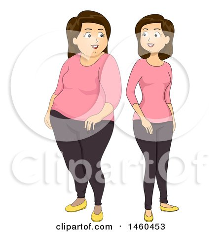 Clipart of a White Woman Shown Before and After Losing Weight - Royalty Free Vector Illustration by BNP Design Studio