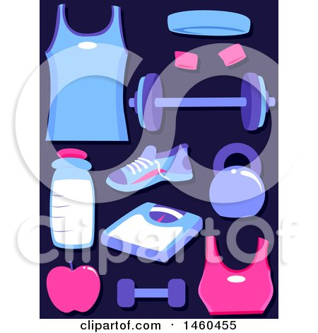 Clipart of His and Hers Exercise Clothes and Fitness Gear - Royalty Free Vector Illustration by BNP Design Studio