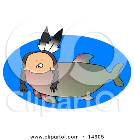 Odd Creature That Is Part Fish And Part Native American Indian, With A Human Head, Braids And Two Feathers  Posters, Art Prints
