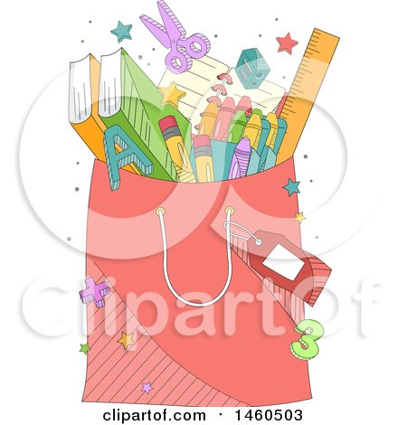 Clipart of a Shopping Bag Full of School Supplies - Royalty Free Vector Illustration by BNP Design Studio