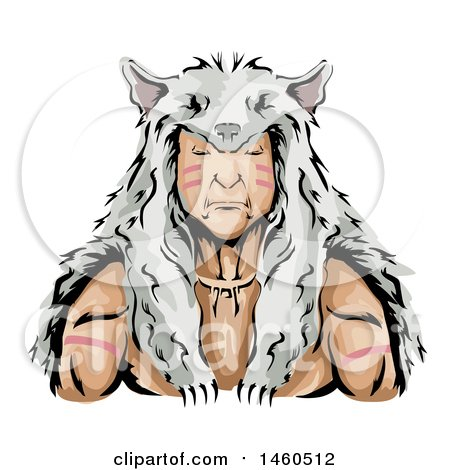 Clipart of a Male Native American Indian Hunter Wearing a Wolf Skin Headdress - Royalty Free Vector Illustration by BNP Design Studio