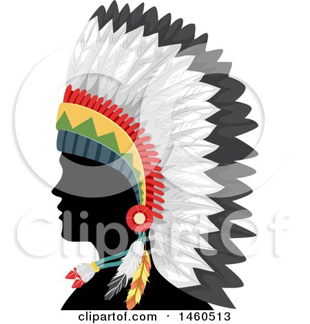 Clipart of a Silhouetted Native American Indian Man in a Feather Headdress and in Profile - Royalty Free Vector Illustration by BNP Design Studio