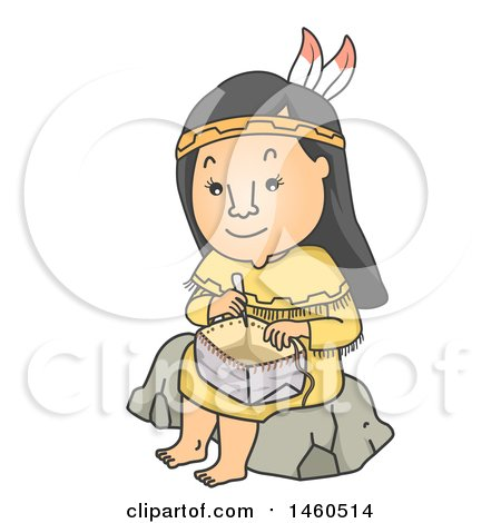 Clipart of a Cartoon Native American Indian Woman Sitting on a Rock and Weaving a Basket - Royalty Free Vector Illustration by BNP Design Studio