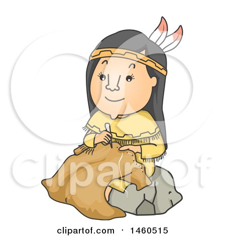 Clipart of a Cartoon Native American Woman Making Buffalo Hide Clothing - Royalty Free Vector Illustration by BNP Design Studio