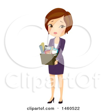 Clipart of a Sad Fired Short Haired Brunette Caucasian Business Woman Carrying a Box of Belongings - Royalty Free Vector Illustration by BNP Design Studio