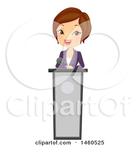 Clipart of a Short Haired Brunette Caucasian Business Woman Speaking at a Podium - Royalty Free Vector Illustration by BNP Design Studio