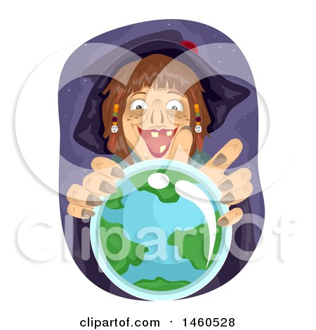 Scary Witch over a Crystal Ball with Earth Posters, Art Prints