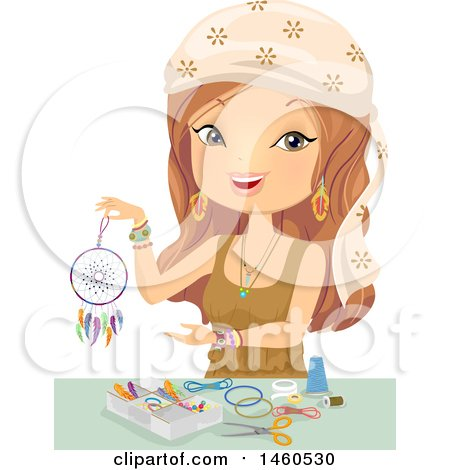 Clipart of a Gypsy Woman Making a Dreamcatcher - Royalty Free Vector Illustration by BNP Design Studio