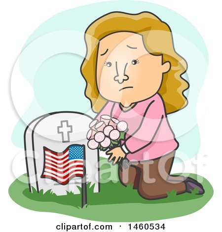Clipart of a Cartoon Sad Woman Kneeling and Placing Flowers on a Grave - Royalty Free Vector Illustration by BNP Design Studio