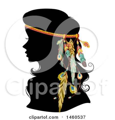 Clipart of a Silhoeutted Woman with a Boho Feather Hair Accessory - Royalty Free Vector Illustration by BNP Design Studio