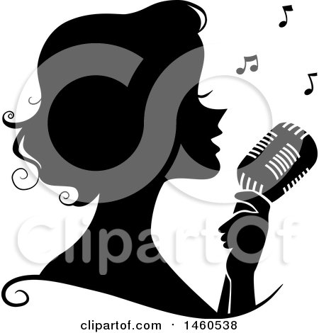 Clipart of a Black and White Silhouetted Woman Singing into a Microphone - Royalty Free Vector Illustration by BNP Design Studio