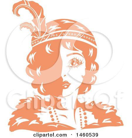 Clipart of a Retro Orange and White Flapper Girl Wearing a Feathered Headband - Royalty Free Vector Illustration by BNP Design Studio