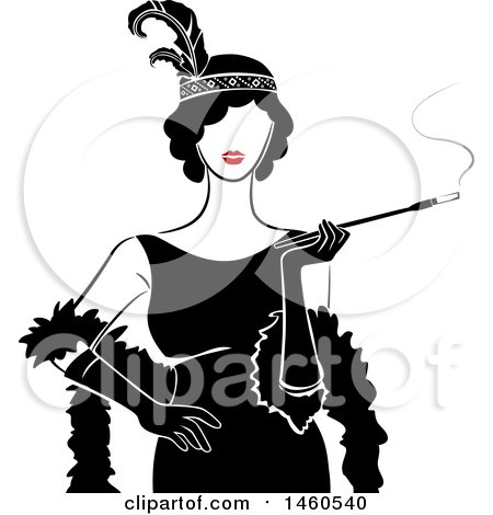 Clipart of a Retro Flapper Girl Woman Holding a Cigarette on a Long Filter - Royalty Free Vector Illustration by BNP Design Studio