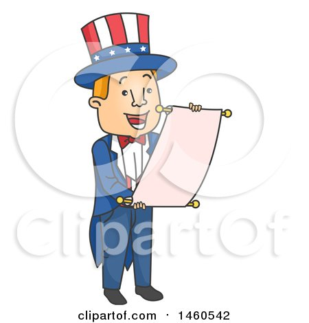 Clipart of a Cartoon Uncle Sam Reading an Announcement - Royalty Free Vector Illustration by BNP Design Studio