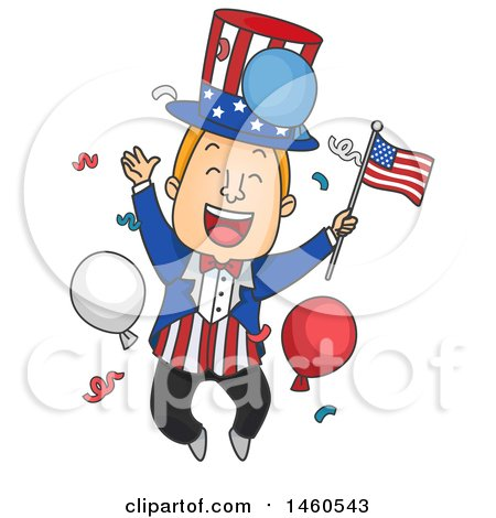 Clipart of a Cartoon Uncle Sam Jumping and Celebrating - Royalty Free Vector Illustration by BNP Design Studio