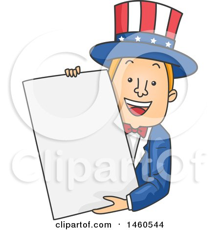 Clipart of a Cartoon Uncle Sam Holding a Blank Sign - Royalty Free Vector Illustration by BNP Design Studio
