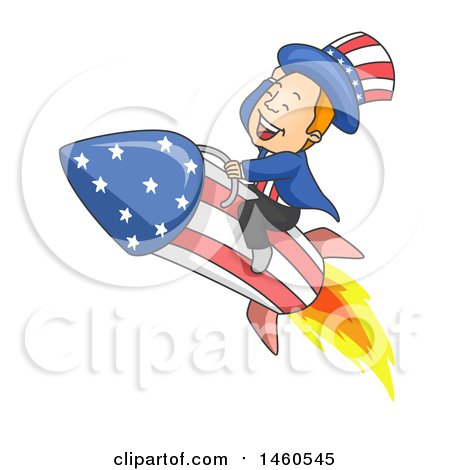 Clipart of a Cartoon Uncle Sam Flying on a Rocket - Royalty Free Vector Illustration by BNP Design Studio