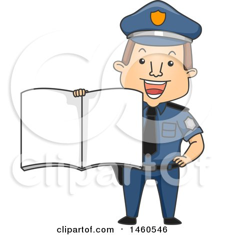 Clipart of a Cartoon Caucasian Police Man Holding out a Book - Royalty Free Vector Illustration by BNP Design Studio