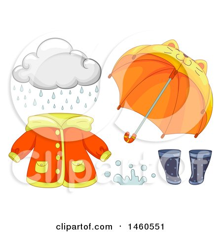 Clipart of a Cloud and Rainy Day Gear - Royalty Free Vector Illustration by BNP Design Studio