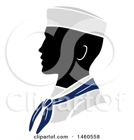 Clipart of a Silhouetted Navy Soldier in Profile - Royalty Free Vector Illustration by BNP Design Studio
