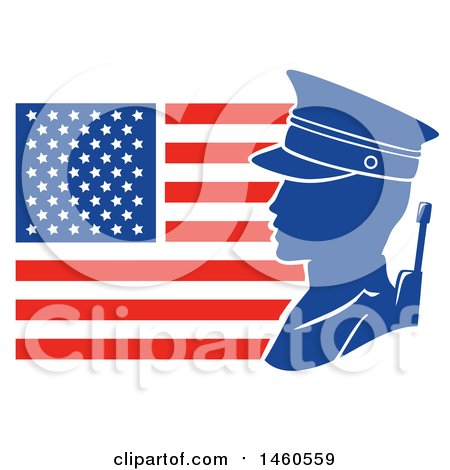 Clipart of a Silhouetted Male Soldier Against an American Flag in Profile - Royalty Free Vector Illustration by BNP Design Studio